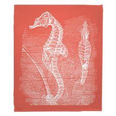 Vintage Seahorse Fleece Throw Blanket - White on Coral