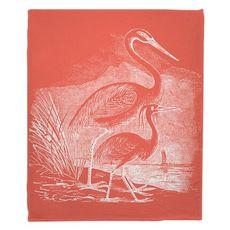 Vintage Egrets Fleece Throw Blanket - White on Coral