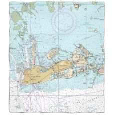 Fl: Key West, Fl Nautical Chart Fleece Throw Blanket
