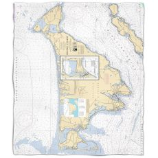 Ma: Martha'S Vineyard, Ma Nautical Chart Fleece Throw Blanket