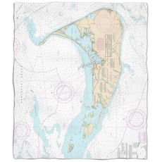 Ma: Nantucket, Ma Nautical Chart Fleece Throw Blanket