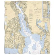RI: Providence River, RI Nautical Chart Fleece Throw Blanket