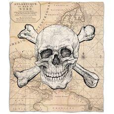 Skull & Crossbones Old World Nautical Chart Fleece Throw Blanket