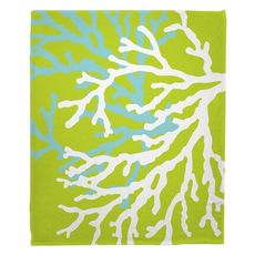 Coral Duo on Lime Fleece Throw Blanket