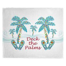 Deck the Palms Christmas Fleece Throw Blanket