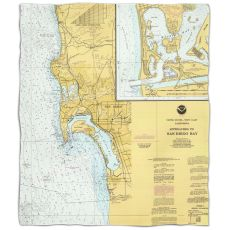 Ca: San Diego, Ca Nautical Chart Fleece Throw Blanket