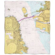 Ca: San Francisco, Ca Nautical Chart Fleece Throw Blanket