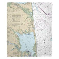 Rehoboth Beach, DE Nautical Chart Fleece Throw Blanket