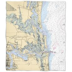 Fl: Amelia Island, Fl Nautical Chart Fleece Throw Blanket