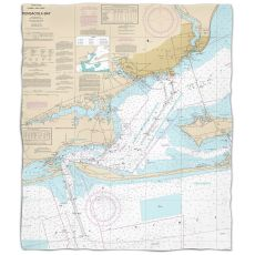 Fl: Pensacola Bay, Fl Nautical Chart Fleece Throw Blanket