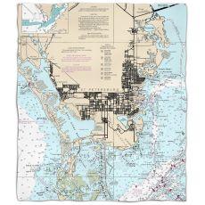 FL: St. Petersburg, FLNautical Chart Fleece Throw Blanket