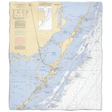 Fl: Key Largo, Fl Nautical Chart Fleece Throw Blanket
