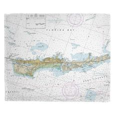 Vaca Key Marathon, FL Nautical Chart Fleece Throw Blanket