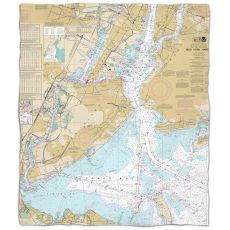 NY: New York Harbor, NY Nautical Chart Fleece Throw Blanket