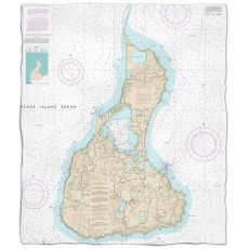 Ri: Block Island, Ri Nautical Chart Fleece Throw Blanket
