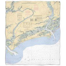 SC: Kiawah Island, SC Nautical Chart Fleece Throw Blanket