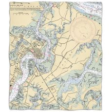 Sc: Beaufort & Ladys Island, Sc Nautical Chart Fleece Throw Blanket