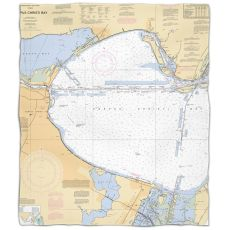 Tx: Corpus Christi Bay, Tx Nautical Chart Fleece Throw Blanket