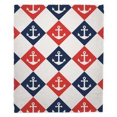 Captains Key - Anchor Fleece Throw Blanket