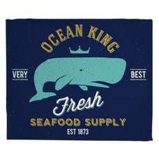 Ocean King Whale Fleece Throw Blanket