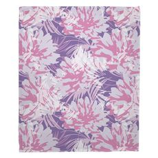 Purple Floral Fusion Fleece Throw Blanket