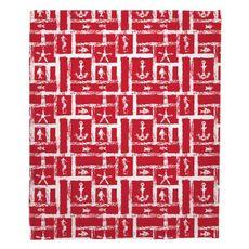 Ocean Squares Red Fleece Throw Blanket