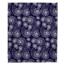 Nautilus Outline Navy Fleece Throw Blanket