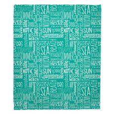 Beach Vacation Words Aqua Fleece Throw Blanket
