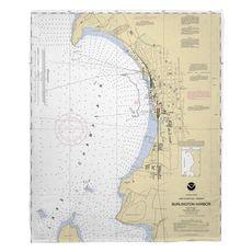 Burlington, VT Nautical Chart Fleece Throw Blanket