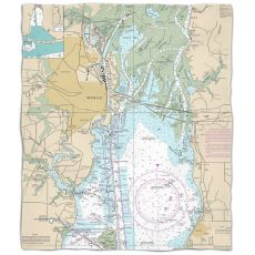 Al: Mobile, Al Nautical Chart Fleece Throw Blanket