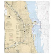 Il: Chicago Harbor, Il Nautical Chart Fleece Throw Blanket