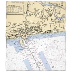Ms: Gulfport, Ms Nautical Chart Fleece Throw Blanket