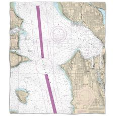 Wa: Seattle, Wa Nautical Chart Fleece Throw Blanket