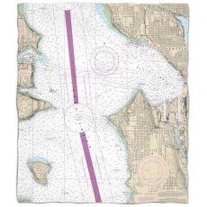 WA: Seattle, WA Nautical Chart Fleece Throw Blanket