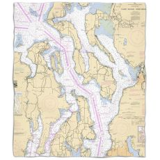 Wa: Puget Sound Northern, Wa Nautical Chart Fleece Throw Blanket