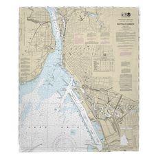 Buffalo Harbor, NY Nautical Chart Fleece Throw Blanket