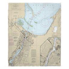 Green Bay, WI Nautical Chart Fleece Throw Blanket