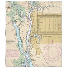 NC: Wilmington, NCNautical Chart Fleece Throw Blanket