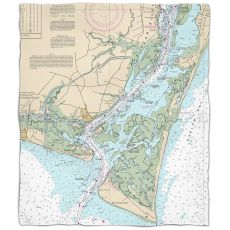 Nc: Oak Island, Southport, Bald Head Island, Nc Nautical Chart Fleece Throw Blanket