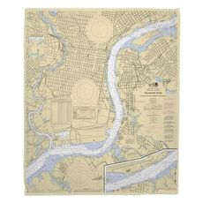 Delaware River, Philadelphia, PA & Camden, NJ Nautical Chart Fleece Throw Blanket