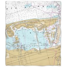 Fl: Miami Beach, Fl Nautical Chart Fleece Throw Blanket