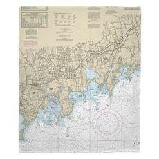 Stamford, Norton, CT Nautical Chart Fleece Throw Blanket
