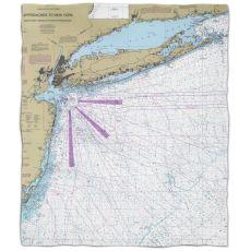 NY: Long Island, NY Nautical Chart Fleece Throw Blanket
