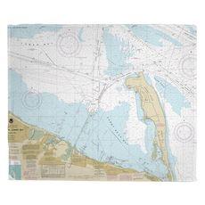 Sandy Hook, NJ Nautical Chart Fleece Throw Blanket
