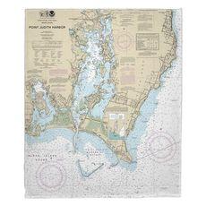 Point Judith Harbor, RI Nautical Chart Fleece Throw Blanket