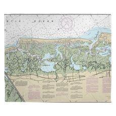 Stone Harbor, Avalon, NJ Nautical Chart Fleece Throw Blanket