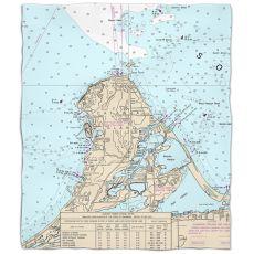 OH: Catawba Island, OHNautical Chart Fleece Throw Blanket