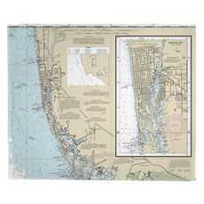 Naples, FL Nautical Chart Fleece Throw Blanket