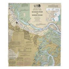 Savannah, GA Nautical Chart Fleece Throw Blanket
