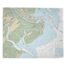 Tybee Island, GA Nautical Chart Fleece Throw Blanket